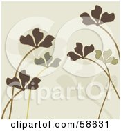 Royalty Free RF Clipart Illustration Of A Background Of Green Plant Leaves And Stalks Over Beige