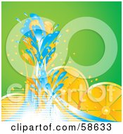 Royalty Free RF Clipart Illustration Of Blue Water Splashing Against Orange Slices On Green by MilsiArt