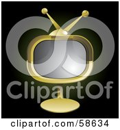 Royalty Free RF Clipart Illustration Of A Retro Golden Tv On A Stand