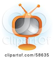 Royalty Free RF Clipart Illustration Of A Retro Orange Tv On A Stand by MilsiArt