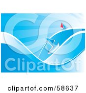 Royalty Free RF Clipart Illustration Of Two Small Sailboats Floating On Blue Waves by MilsiArt