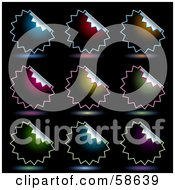 Digital Collage Of Dark Peeling Seal Stickers With Shadows On Black
