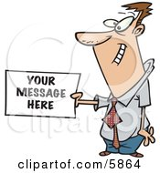 Business Man Holding A Sign Ready For Your Text Clipart