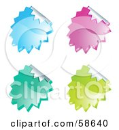 Digital Collage Of Colorful Peeling Seal Stickers On White