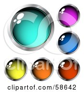 Royalty Free RF Clipart Illustration Of A Digital Collage Of Deep Colored Chrome Rimmed Web Buttons