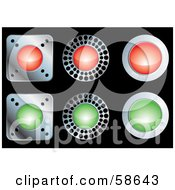 Royalty Free RF Clipart Illustration Of A Digital Collage Of Red And Green Metal Web Buttons