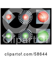 Royalty Free RF Clipart Illustration Of A Digital Collage Of Metal Red And Green Web Buttons
