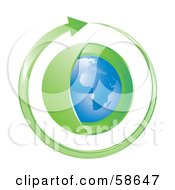 Royalty Free RF Clipart Illustration Of A Blue Globe With A Green Layer Circled By An Arrow by MilsiArt