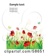 Royalty Free RF Clipart Illustration Of A Poppy Field And Butterfly Background With Sample Text Version 1 by MilsiArt