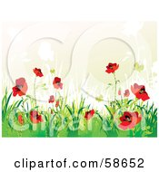 Royalty Free RF Clipart Illustration Of A Poppy Field And Butterfly Background With Sample Text Version 2 by MilsiArt