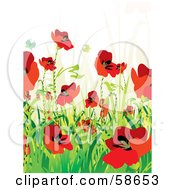 Royalty Free RF Clipart Illustration Of A Poppy Field And Butterfly Background With Sample Text Version 3 by MilsiArt