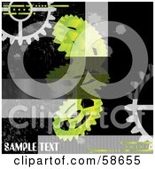 Royalty Free RF Clipart Illustration Of A Black And Green Industrial Gear Cog Background With Sample Text
