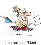 Brown Nosing Business Man Fetching Coffee And Papers For The Boss Clipart Illustration