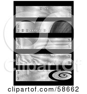 Royalty Free RF Clipart Illustration Of A Digital Collage Of Five Industrial Chrome Banners by MilsiArt
