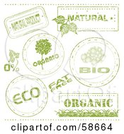 Royalty Free RF Clipart Illustration Of A Digital Collage Of Green Eco Stamps