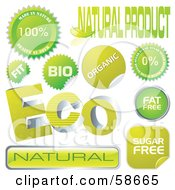 Royalty Free RF Clipart Illustration Of A Digital Collage Of Green Organic Stickers And Seals