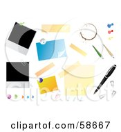 Royalty Free RF Clipart Illustration Of A Digital Collage Of Bulletin And Office Items On White