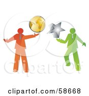 Royalty Free RF Clipart Illustration Of A Digital Collage Of Green And Orange Businessmen Holding A Globe And Star by MilsiArt