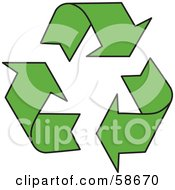Royalty Free RF Clipart Illustration Of A Solid Green Three Recycle Arrow Icon by MilsiArt
