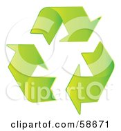 Royalty Free RF Clipart Illustration Of Gradient Green Three Recycle Arrow Icon by MilsiArt