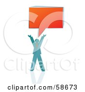 Royalty Free RF Clipart Illustration Of A Blue Business Man Holding His Arms Up Under An Orange Speech Box