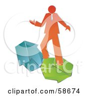 Royalty Free RF Clipart Illustration Of An Orange Business Man Balancing Green And Blue Arrows by MilsiArt