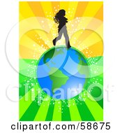 Royalty Free RF Clipart Illustration Of A Silhouetted Girl Running Over Earth On A Bursting Green And Orange Background