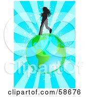 Royalty Free RF Clipart Illustration Of A Silhouetted Girl Running Over Earth On A Bursting Blue Background