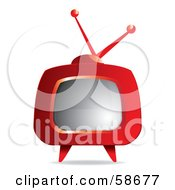 Royalty Free RF Clipart Illustration Of A Retro Red Tv With Legs
