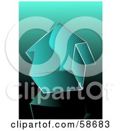 Royalty Free RF Clipart Illustration Of A 3d Teal Arrow Pointing Up