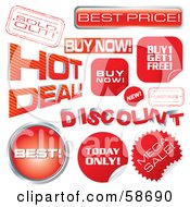 Royalty Free RF Clipart Illustration Of A Digital Collage Of Red Retail Discount Tags by MilsiArt