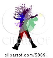 Royalty Free RF Clipart Illustration Of A Jumping Silhouetted Girl With Colorful Splatters