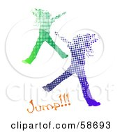 Two Halftone Girls Jumping