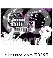 Royalty Free RF Clipart Illustration Of A Fashionable Woman In Rome With Sample Text And Pink Grunge