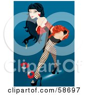 Royalty Free RF Clipart Illustration Of A Sexy Pinup Woman Bending Over To Pick Up Handcuffs by MilsiArt #COLLC58697-0110