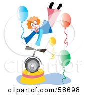 Circus Clown Balancing On One Hand On A Unicycle Holding A Balloon