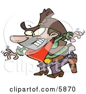 Male Cowboy Readin To Grab His Pistil During Draw Clipart Illustration by toonaday