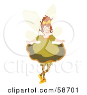 Royalty Free RF Clipart Illustration Of A Brunette Fairy Holding Up Her Dress by MilsiArt