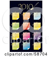 Royalty Free RF Clipart Illustration Of A Colorful Sticky Note 2010 Calendar