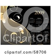 Royalty Free RF Clipart Illustration Of A Gold And Black Floral Vine 2009 Calendar by MilsiArt