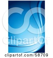 Royalty Free RF Clipart Illustration Of A Blue Vertical Background With Curving Waves