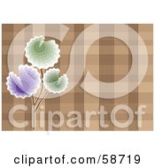 Royalty Free RF Clipart Illustration Of A Background Of Purple And Green Flowers Over Brown Plaid by MilsiArt