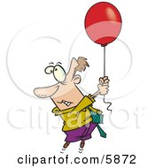 Business Man Getting Carried Away By A Red Balloon