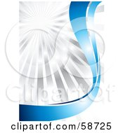 Royalty Free RF Clipart Illustration Of A Bursting Chrome Background With Shiny Blue Curves