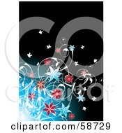 Royalty Free RF Clipart Illustration Of A Flourishing Flowering Plant On A Blue And Black Background by MilsiArt