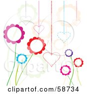 Royalty Free RF Clipart Illustration Of A Background Of Funky Flowers And Hearts On White by MilsiArt