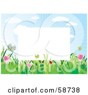 Royalty Free RF Clipart Illustration Of A White Frame Bordered With Summer Flowers And Butterflies