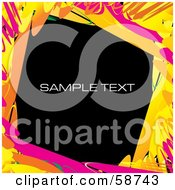 Slanted Square Background Bordered With Colorful Smears And Sample Text