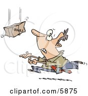 Business Man Rushing To Catch A Falling Fragile Package Clipart Illustration