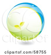 Royalty Free RF Clipart Illustration Of A Seedling Plant Growing In A Green And Blue Sphere